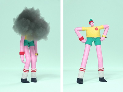 Some days are cloudy health mental sad cloudy cinema 4d character 3d animation design