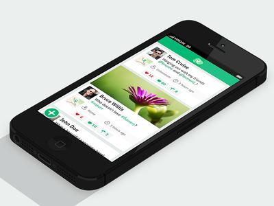 App Journal Design ios iphone apple flat ui green ux journal news feed interface