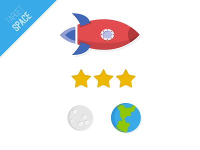 Elements for Target Space spaceship world stars blue ios game space flat