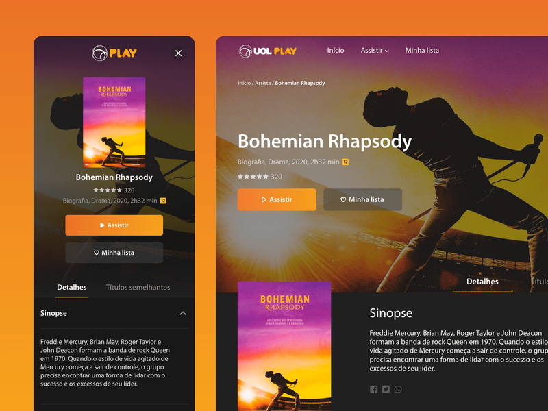 UI for a new streaming platform made by UOL interface detail page movie page play mobile ui movie bohemian rhapsody netflix streaming