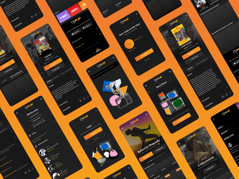 Mobile UI for a new streaming platform made by UOL interface uol play play video streaming mobile