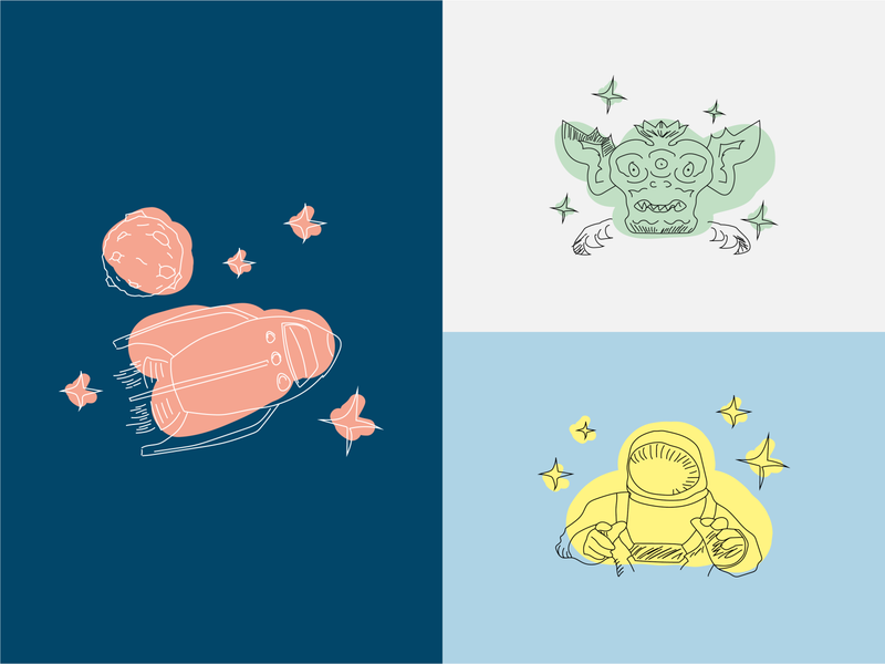 Watercolor Space Illustrations / SPACE SQUAD drawing colored rocket astronaut alien digital drawing art tee design apparel design apparel universe spaceart art work sticker space illustration vector
