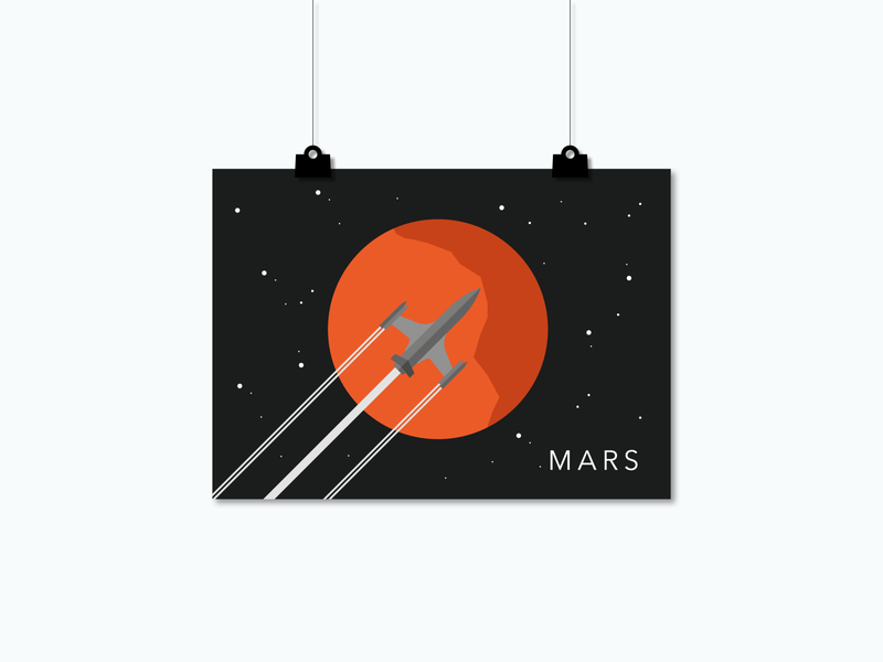 Poster Mars / SPACE SQUAD universe wall art solar system red planet mars space art poster design poster art poster planets minimalistic art work space inspiration flat design illustration graphic design graphicdesign vector