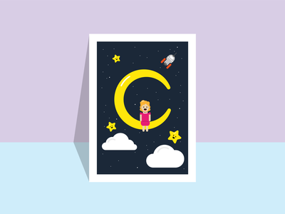 Poster girl on the moon / SPACE SQUAD stars spaceart solar system planet minimalistic universe wall art poster art poster design moon planets poster space inspiration flat design illustration graphic design graphicdesign vector