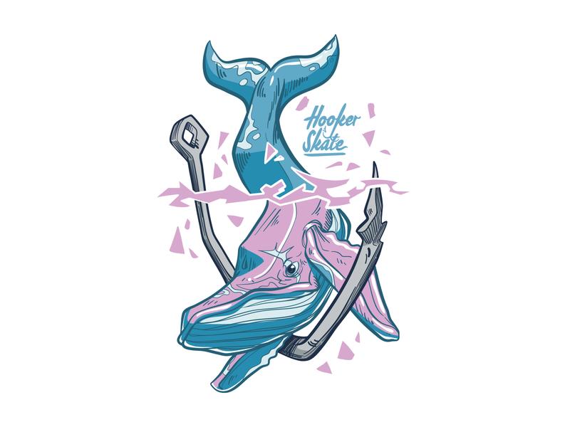 Print Artwork for Hooker Skate - Whale anchor whale wall art vector postcard design postcard inspiration illustration hooker skate graphic design graphicdesign design apparel design apparel