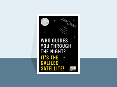 Artwork of Galileo-Satellites / SPACE SQUAD planets poster satellites galileo world space week universe space navigation earth inspiration illustration graphic design graphicdesign vector