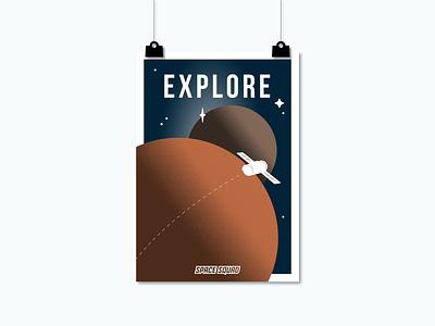 Poster of Satellites / SPACE SQUAD exploring space squad space poster art world space week universe explore planets satellites artwork poster illustration graphic design graphicdesign vector