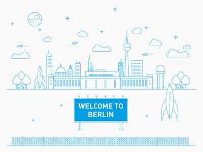 Berlin Skyline / SPACE SQUAD spaceship welcome tempelhofer feld sky fernsehturm rocket airport inspiration design illustration graphic design graphicdesign vector berlin
