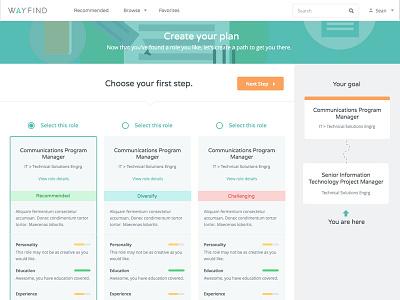 Wayfind Plan Page, Step 1 work webapp app ui ux interactive