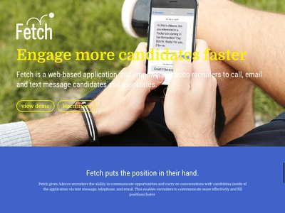 Ignite's Product Pages: Fetch texting career work interactive interaction ux ui portfolio