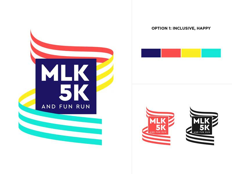 MLK 5K and Fun Run Identity identity branding mlk day patriotic logo running race