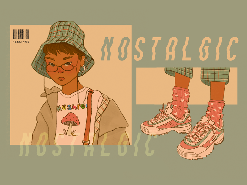 nostalgic feelings clothes digital illustrations shoebox girl character girl illustration girl artwork art character design character procreate photoshop art photoshop digital art digital painting illustration