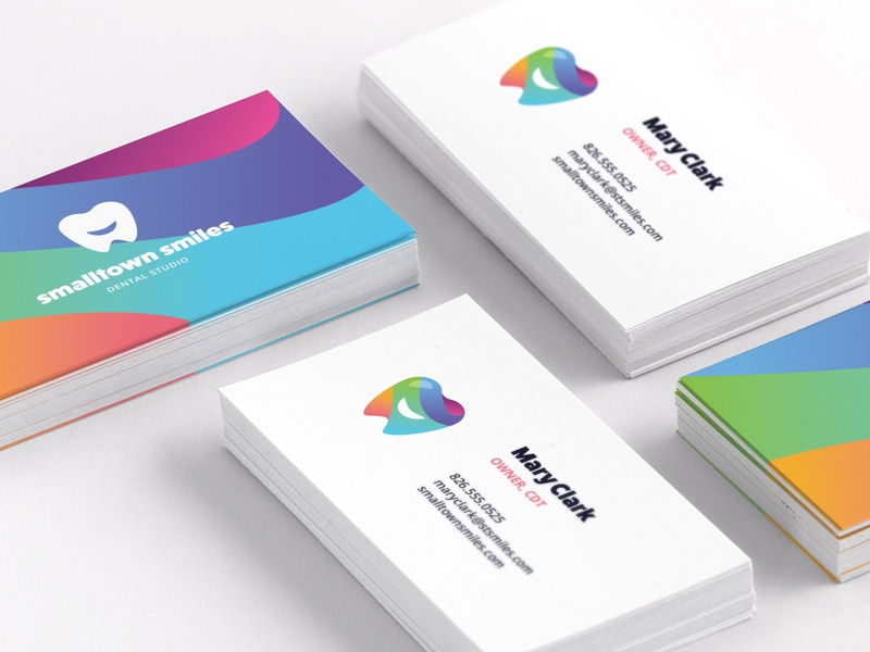 Smalltown Smiles Business Cards mockup logo design dental logo rainbow gradient logo gradient print design business card smile logo tooth logo marketing brand branding illustrator typography dribbble layout illustration vector graphic design