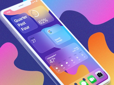 Glass Widgets noise organic shapes frosted glass gradients icons apps mobile widgets iphone mockup glass effect glass texture soft ui illustrator photoshop xd ui layout dribbble