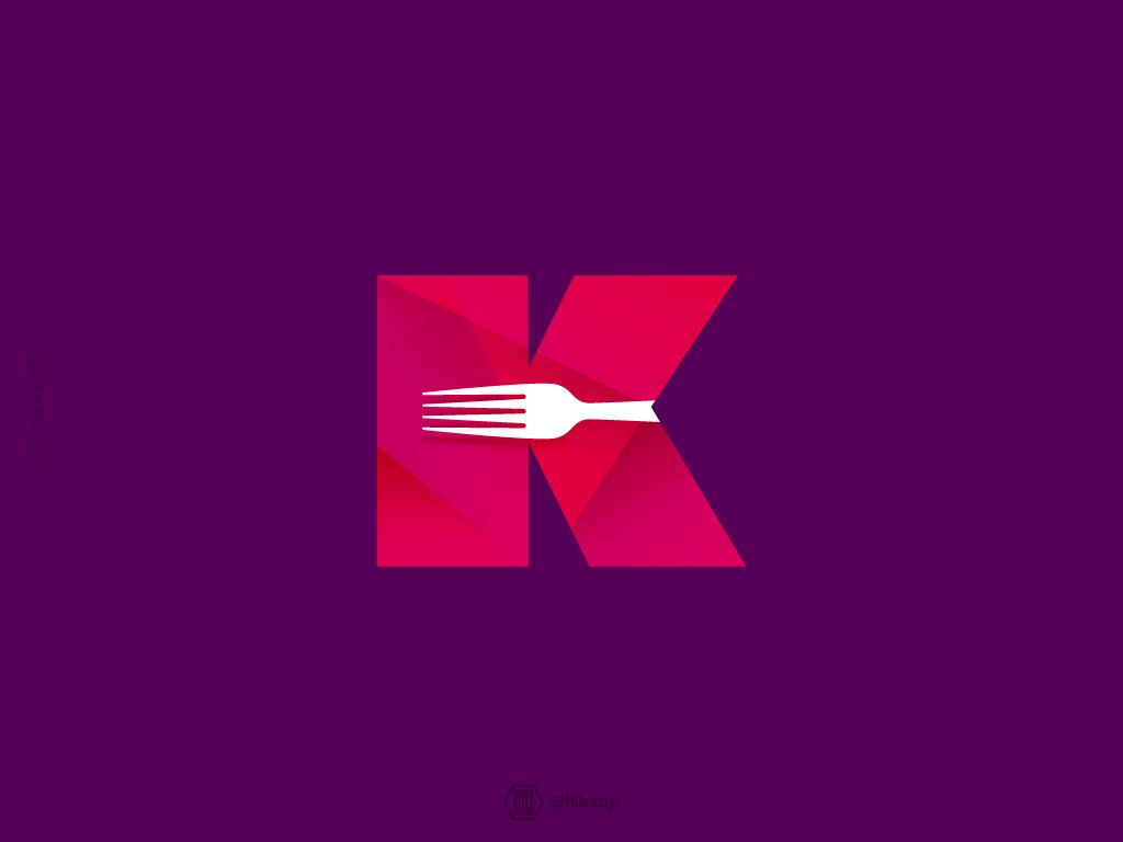 """K"" Mark Color Version kitchenfork kitchenware kitchenaid fork k mark kitchenstuff kitchen md typography type lettering symbol minimal mark logo identity icon flat design branding"