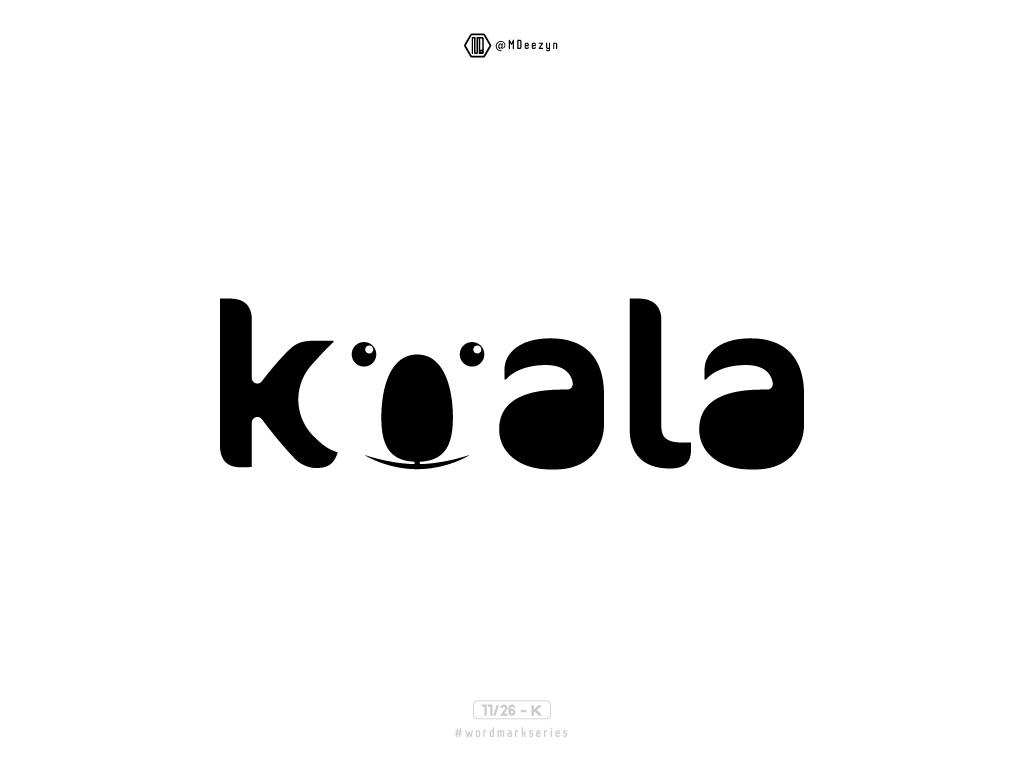 Koala - Wordmark Series (11/26) graphic  design logodesign brand mark wordmark series illustration koala logo koala bear koala animal vector symbol mark typography lettering minimal flat logo identity design branding