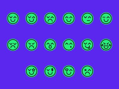 Emoji Set illustration brand logo laughing branding identity cute smileys smiley icon set icons emoji set emojis emoji