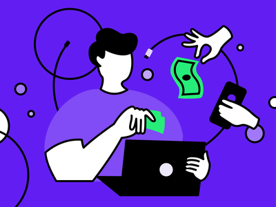 Tech Illustrations purple gadgets money faceless vector technology illustration branding identity