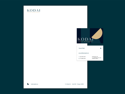 Kodai Capital Management monogram logomark logo identity finance stationery letterhead business card branding balance