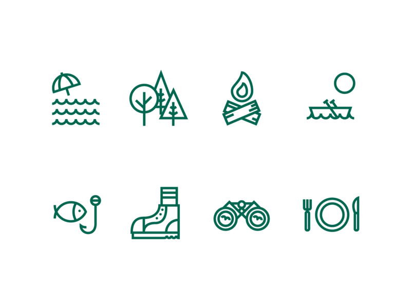 Woodland Resort Icons trees fish hike boot dining beach fishing boat fire woods nature camping camp identity icon illustration icons