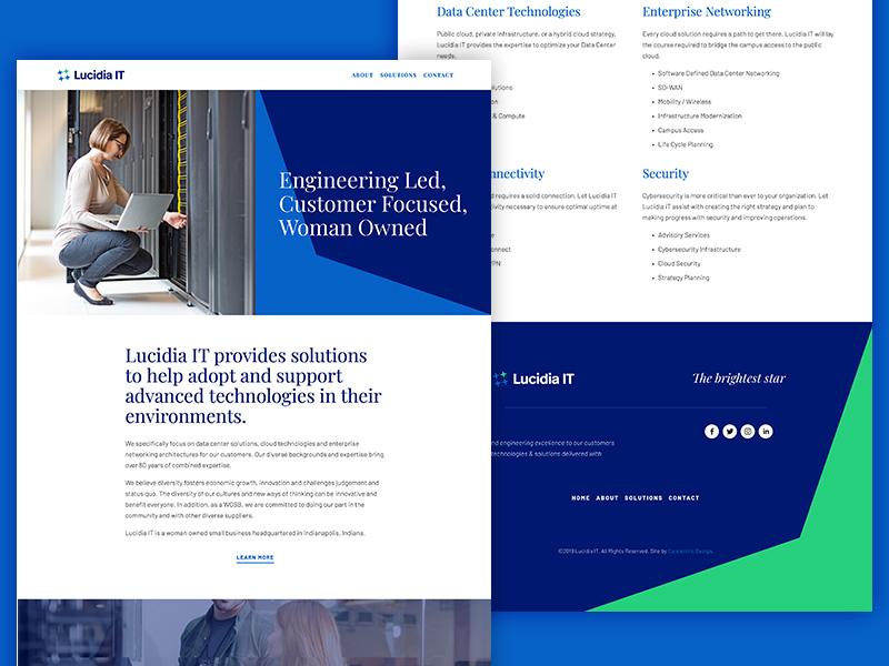 Lucidia IT icon logomark logo star constellation responsive squarespace website technology it blue identity branding