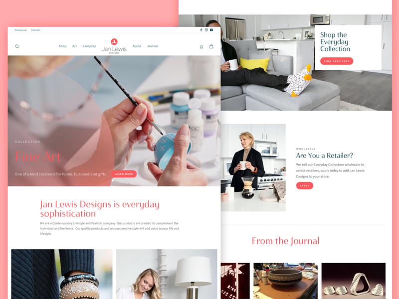 Jan Lewis Designs Website homeware painting artist art pink identity web design shopify website