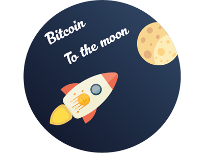 Bitcoin To The Moon moon rocket crytpo bitcoin sticker