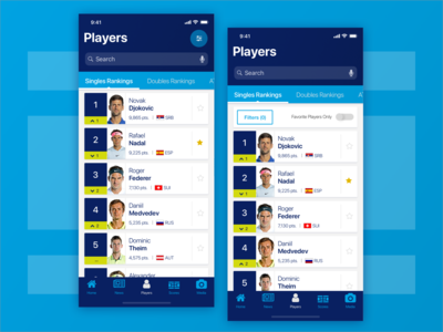 ATP Mobile App : Players Section - Filters (Entry Point)