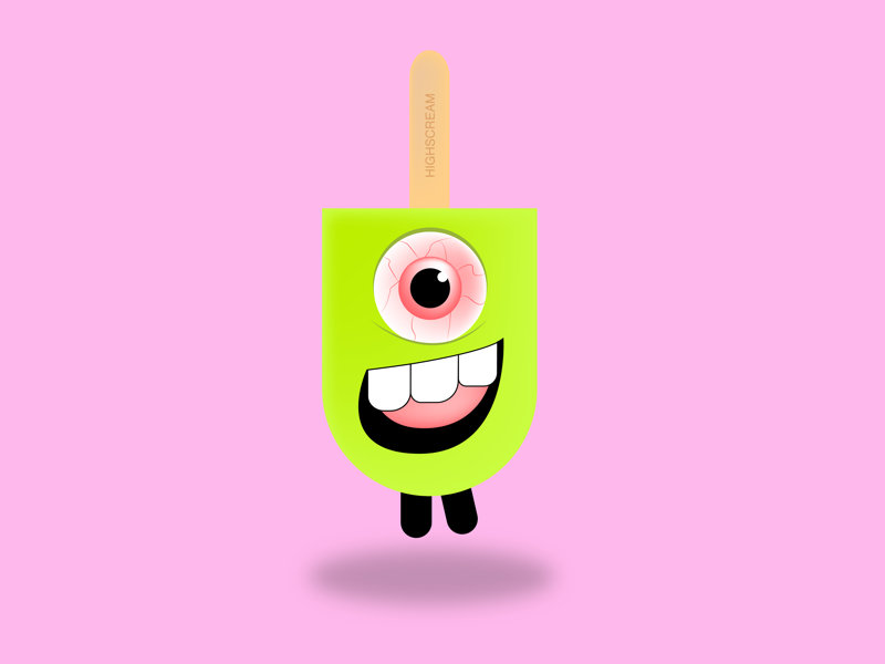 """Highscream"" icecream flat illustration character"