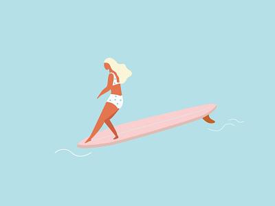 Surfing Girl Longboard hawaii long beach illustration hangten surfer girl longboard surf surfing surf