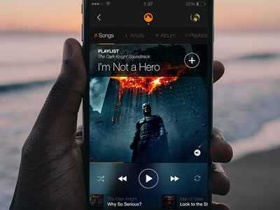 Music Player Exploration volume ux ui song redesign player play music media grooveshark dark clean