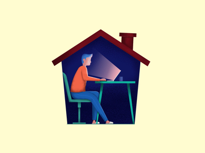 Work From Home computer working work from home design digital art illustration color animation digital colorful