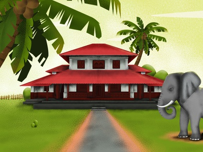 Old Home colorful nalukettu elephant beauty kerala colourful digtal painting traditional home home color digital art illustration