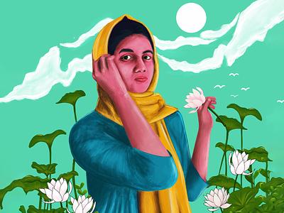 Portrait❤️ girl sky green painting digital painting portrait color digital colorful illustration