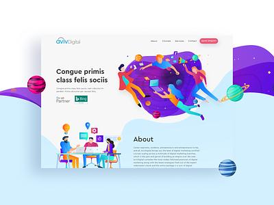 website revamp for aviv Digital debute colorful digital website banner website web design