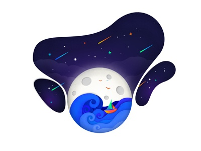 The Sea On The Moon space lost in space galaxy vector illustration sea moon