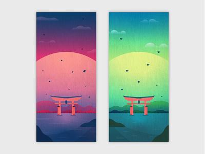 Itsukushima Shrine mobile wallpapers vectorart landscape iphone wallpaper gradient vector wallpaper mobile illustrator illustration