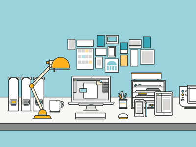 Home Office illustration home office work space desk mac icon line art homeoffice workspace