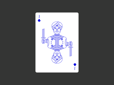 Jack of Clubs civilization playing card icon graphic design india deck clubs jack lineart illustration poker playing card