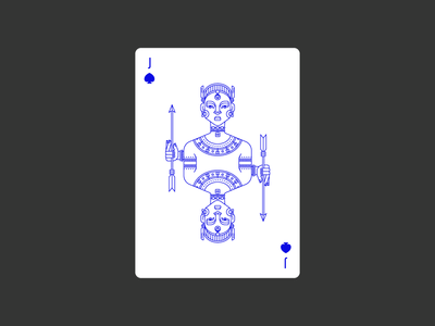 Jack of Spades civilization playing card icon graphic design africa deck spade jack lineart illustration poker playing card