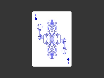 King of Clubs civilization playing card icon graphic design india deck clubs king lineart illustration poker playing card