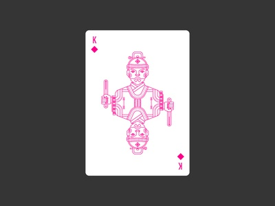 King of Diamonds diamonds king korea lineart icon illustration poker deck playing card civilization playing card