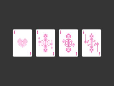 Hearts civilization playing card poker england lineart vector illustration icon graphic design playing card deck hearts