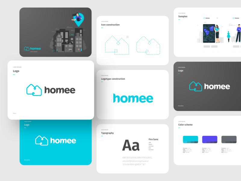 homee logo 🏠 propoerty managment vector design branding logotype logo design homestaging realestate logo