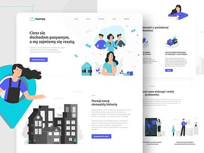 homee landing page 🏠 vector ux web webdesign landing illustration website people ui design