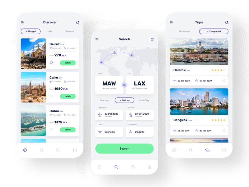 bookandgo ✈️ - Discover, Search and Trips ui trips reservation mobileapp mobile flights discover app