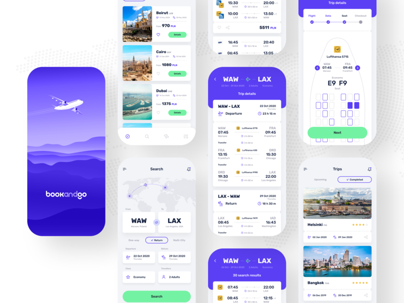 bookandgo ✈️ - Light ⚪️ ui reservation trips mobile app mobile design mobile ui mobile app ui app concept app design application flights discover app
