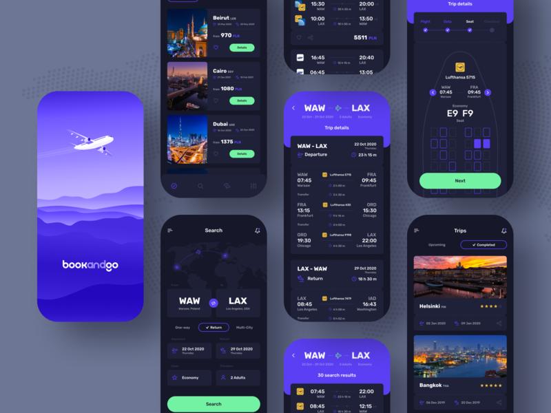 bookandgo ✈️ - Dark ⚫️ ui trips reservation mobile design mobile ui mobile app mobile flights discover app ui application app design app concept app