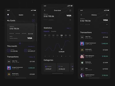 Plånbok - Wallet app concept 💸 Wallet, Overview and History darktheme darkmode ux uiux app wallet app mobile kit ui wallet