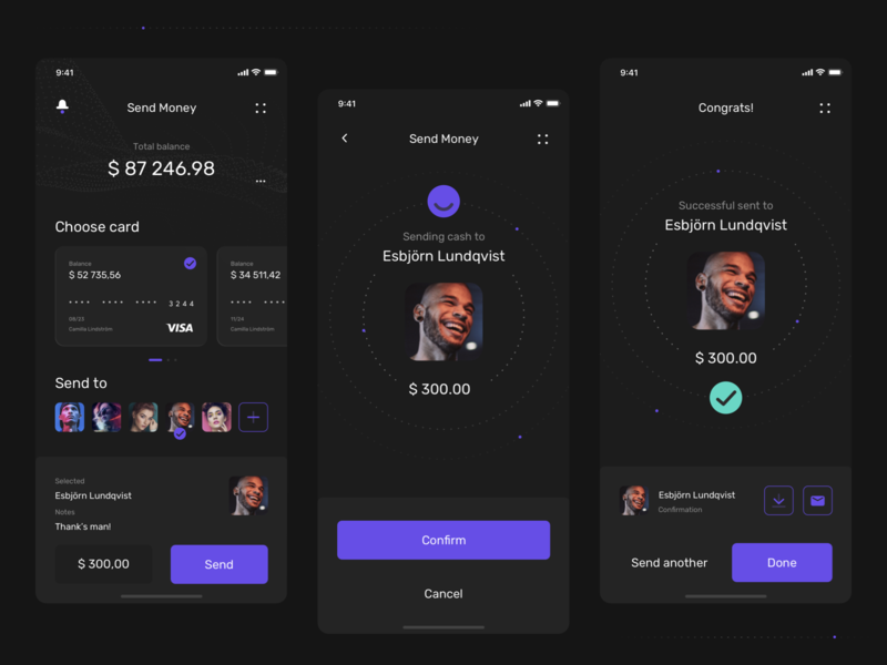 Plånbok - Wallet app concept 💸 Sending money wallet app wallet ux uiux ui mobile kit darktheme darkmode app